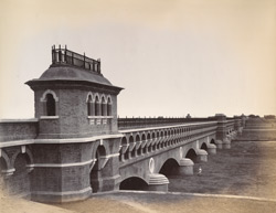 View of completed aqueduct from south-east wing, [Nadrai Aqueduct, Lower Ganges Canal].